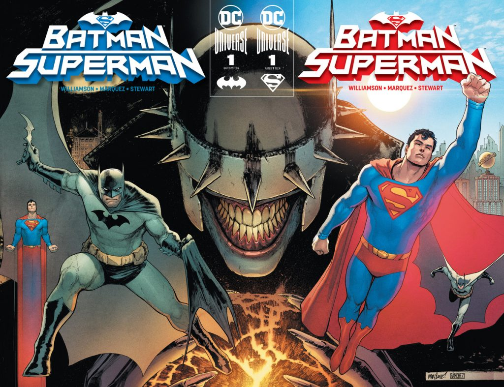 Batman and Superman join forces to hunt down six infected heroes and the Batman Who Laughs