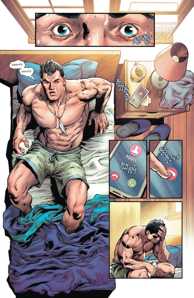 Billy-In-Bed-Boxers-Cell-Phone-Rings-Mary-DC Comics News Reviews