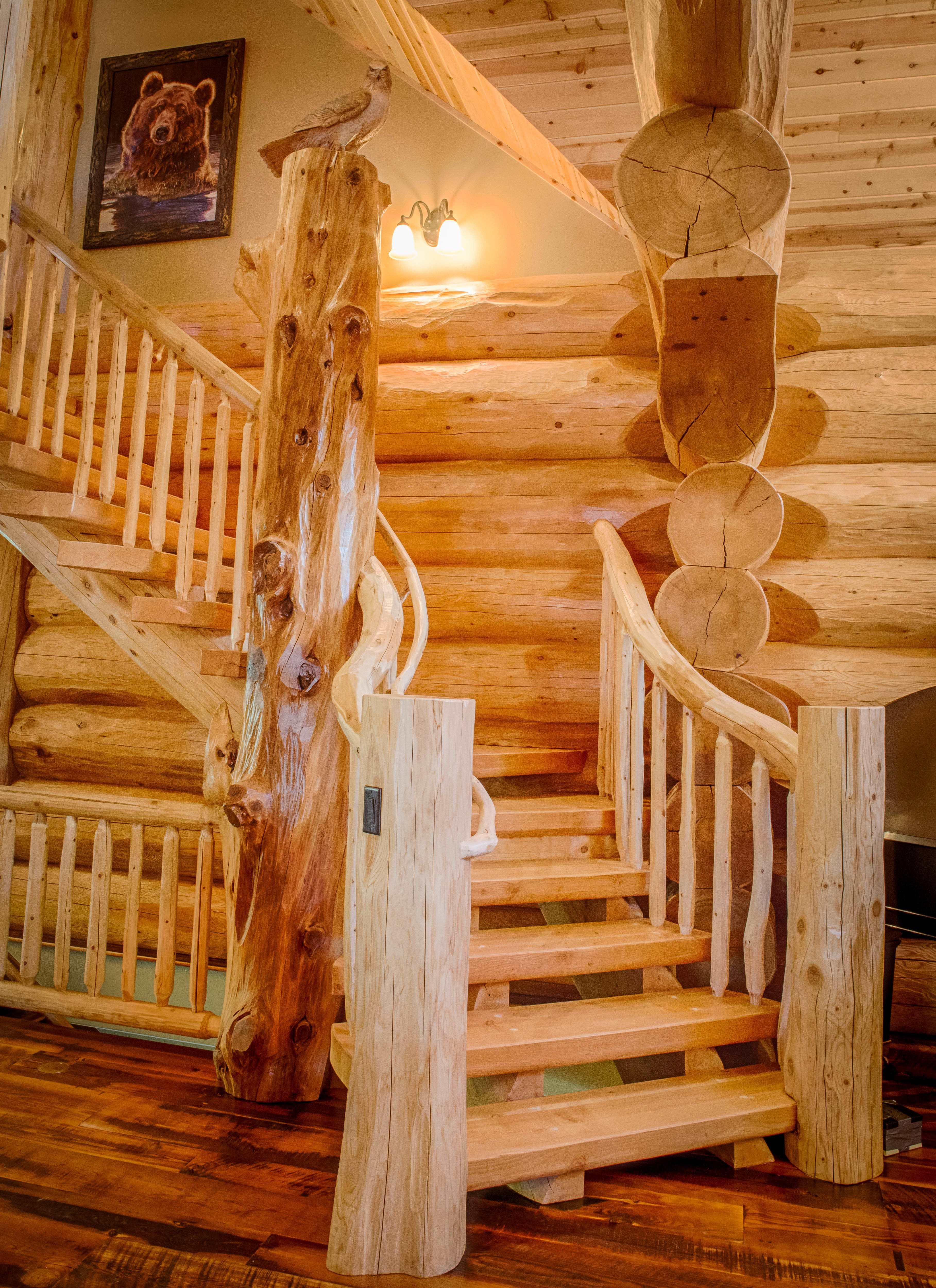 Rustic Log Cabin Homes Interiors Stairs
