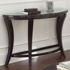 Half Moon Sofa Table Leather Sales Cayman Glass Top Wood Base Dcg