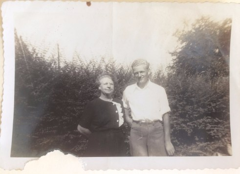 Mrs. Below and Hans. Taken in the front yard of W.P. Law's farm in 1943-144