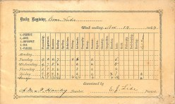 Student information page showing Evan Lide in the 1869 School Register for St. John's Academy.