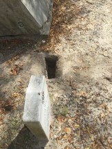Hole left by the thief.