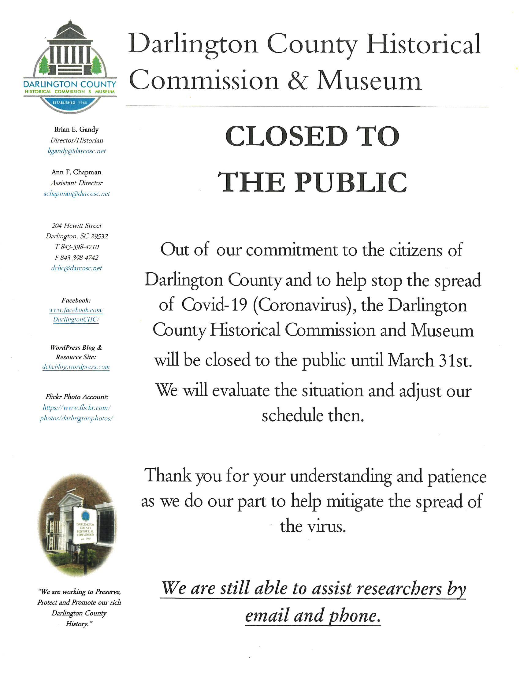 Corona Virus Closure Notice