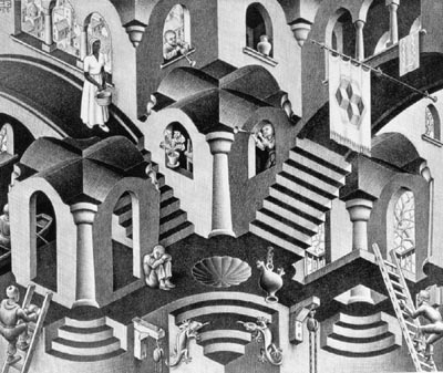 """""""Convex And Concave"""" lithograph by M.C. Escher, 1955"""