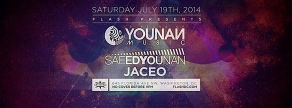 SAT July 19 Flash presents: Saeed Younan, Jaceo (Younan Music Showcase & 10 Year Anv. Event)