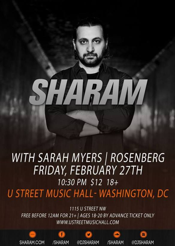 Sharam with Sarah Myers & Rosenberg at U Street Music Hall