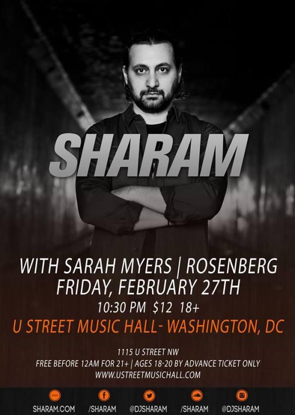 Sharam with Sarah Myers & Rosenberg at U Street Music Hall