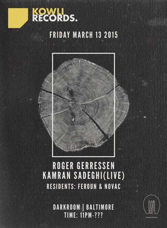 Kowli Presents: Roger Gerressen & Kamran Sadeghi (Live) at The Dark Room, Baltimore