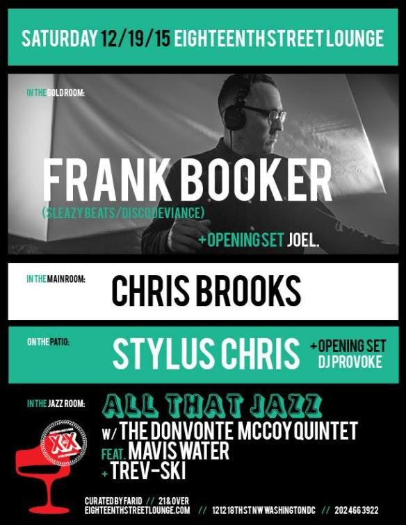 ESL Saturday with Frank Booker, Stylus Chris & Chris Brooks at Eighteenth Street Lounge