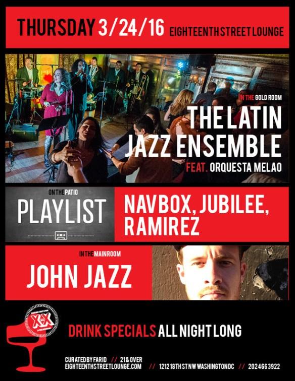 Playlist with Navbox, Jubilee & Ramirez at at Eighteenth Street Lounge