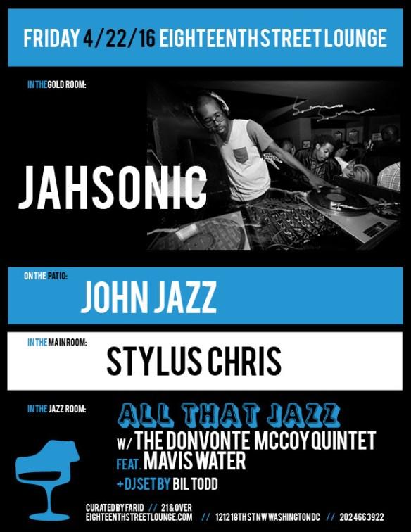 ESL Friday with Jahsonic, John Jazz, Stylus Chris and Bil Todd at Eighteenth Street Lounge
