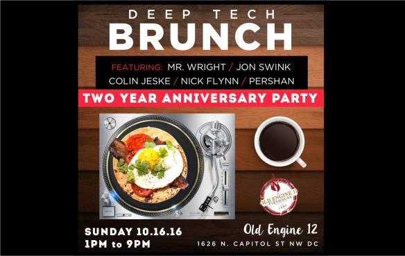 Deep Tech Brunch Two Year Anniversary Party with Mr Wright, Jon Swink, Colin Jeske, Nick Flynn & Pershan at Old Engine 12 Firehouse Restaurant