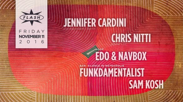 Jennifer Cardini with Chris Nitti at Flash, with Silence in Metropolis in the Flash Bar, and Navbox and Edo on the rooftop