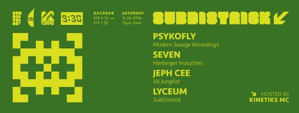 Subdistrick! with Psykofly, Seven, Jeph See & Lyceum at Backbar