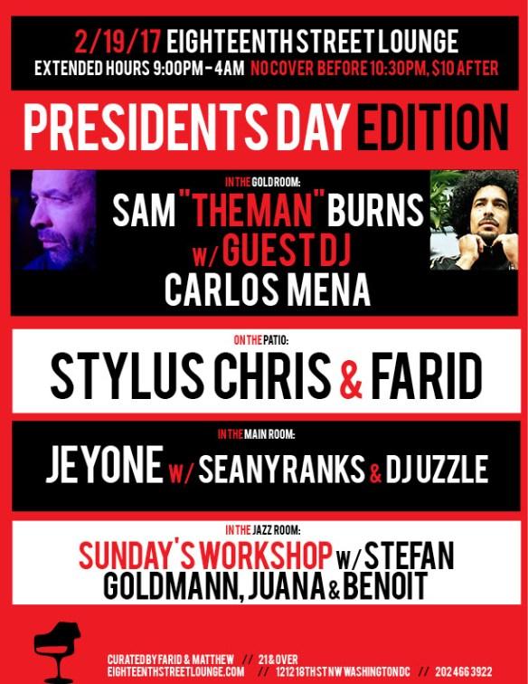 "ESL Sunday with Sam ""The Man"" Burns, Carlos Men, Stylus Chris, Farid, Jeyone, Seanyranks & DJ Uzzle, plus Sunday's Workshop feauturing Stefan Goldmann, Juana & Benoit at Eighteenth Street Lounge"