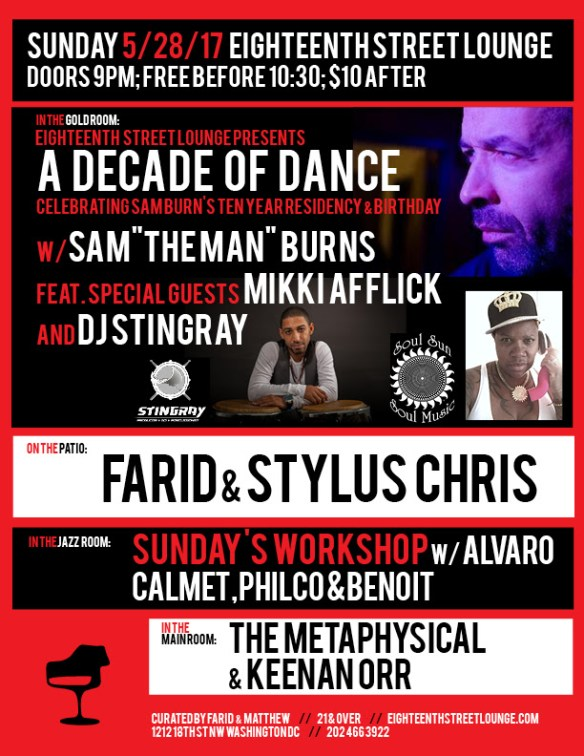 "ESL Sunday with Sam ""The Man"" Burns, Mikki Afflick, DJ Stingray, Farid, Stylus Chris, The Metaphysical, Keenan Orr & Sunday's Workshop with Alvaro Calmet(Peru) & Benoit at Eighteenth Street Lounge"