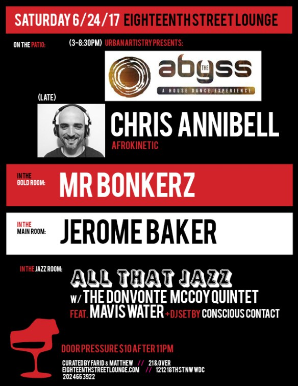 ESL Saturday with Chris Annibel, Mr Bonkerz, Jerome Baker & Conscious Contact at Eighteenth Street Lounge
