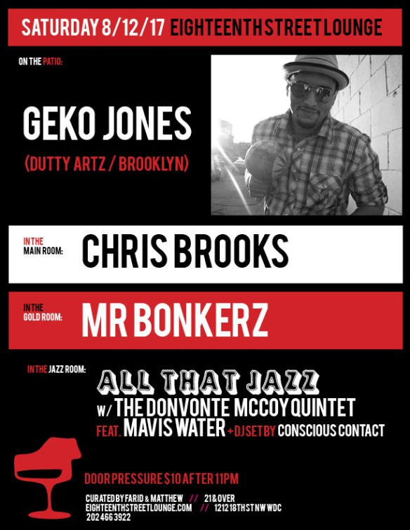 ESL Saturday with Geko Jones, Chris Brooks, Mr Bonkerz and Conscious Contact at Eigtheenth Street Lounge