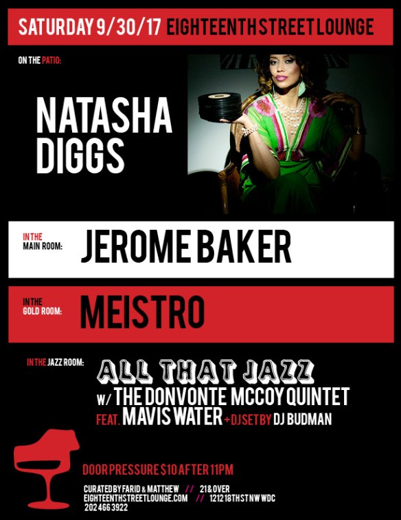 ESL Saturday with Natasha Diggs, Jerome Baker, Meistro & DJ Budman at Eighteenth Street Lounge