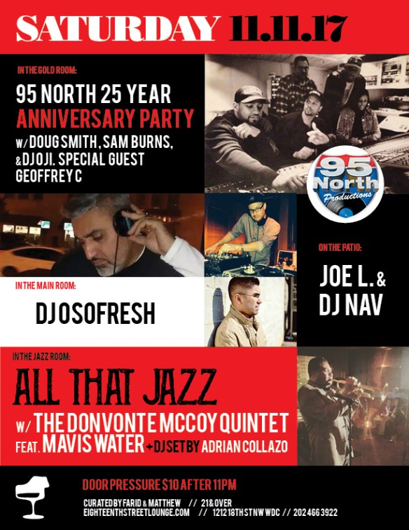 ESL Saturday with 95 North 25 Year Anniversary featuring Doug Smith, Sam Burns, Geoffrey C, Richard Payton, Joe L & DJ Nav at Eighteenth Street Lounge