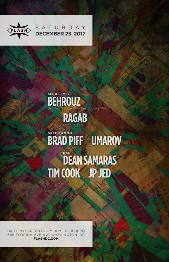Behrouz with Ragab at Flash, with Brad Piff & Umarov in the Green Room and Dean Samars, Tim Cook & JP Jed in the Flash Bar
