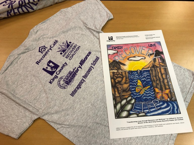 """Speak Out for Recovery"" poster and t-shirt"