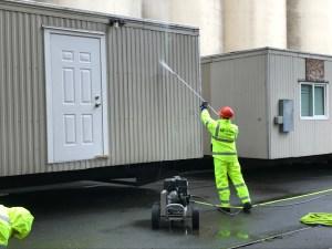 Worker pressure washing modular unit