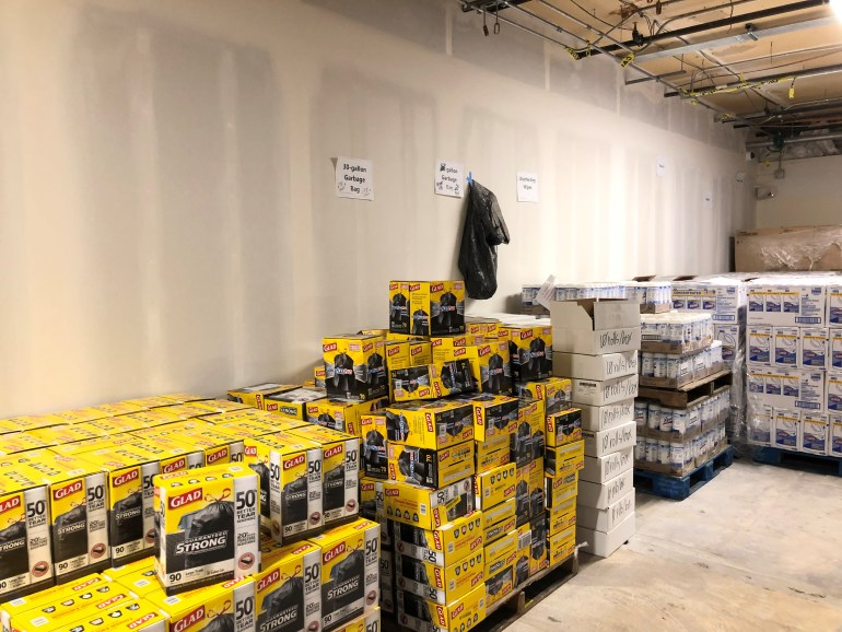Bulk cleaning supplies at the central warehouse for providers