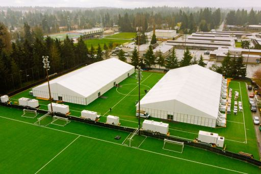 Aerial view of  Shoreline AC/RC facility at Shoreline Soccer Field