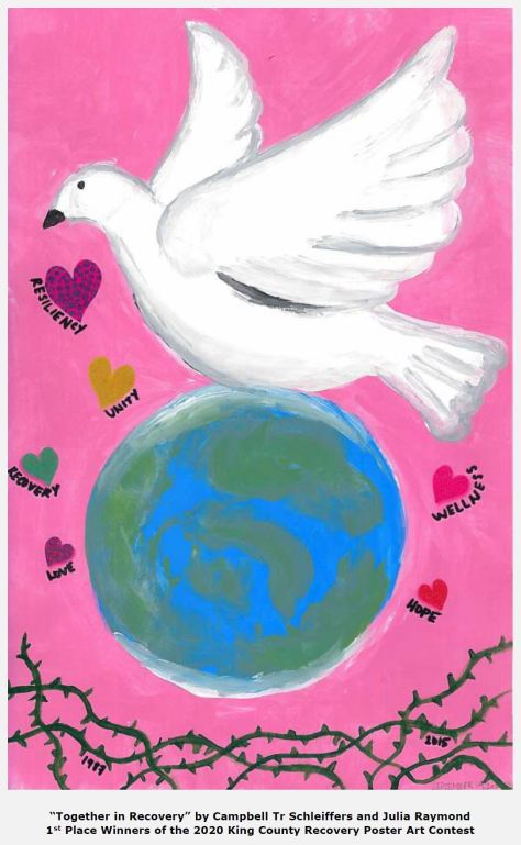 Painting of white dove above whole earth against a pink background with multi-colored hearts outlined by inspirational words and green thorns at the bottom