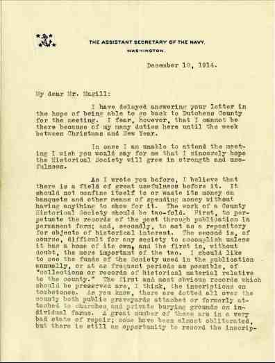 December 1914 Roosevelt writes to DCHS President.