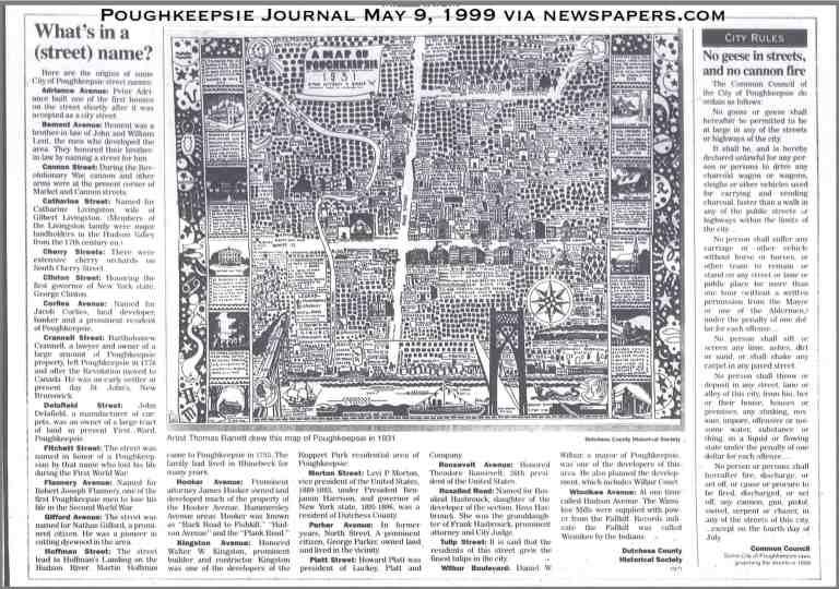 Poughkeepsie Street Names PoJo 1999