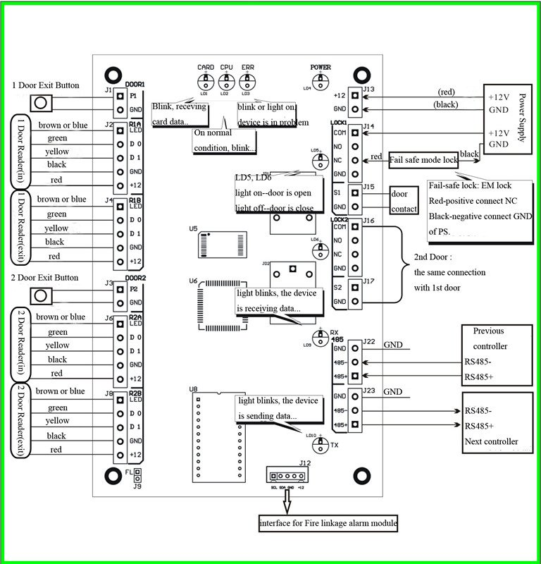 Door Access Control System Wiring Diagram