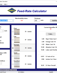 Waterjet feedrate calculator also wardjet rh