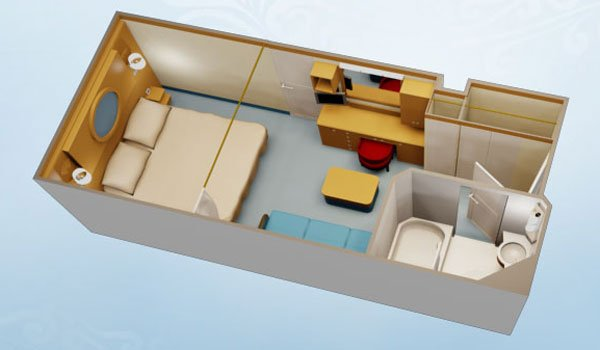 Layout of a Standard Inside Stateroom on Disney Cruise Line.