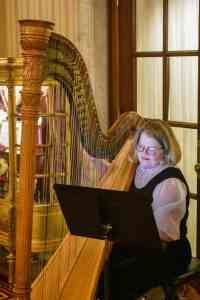 Live harp music during afternoon tea at the Willard Intercontinental Hotel