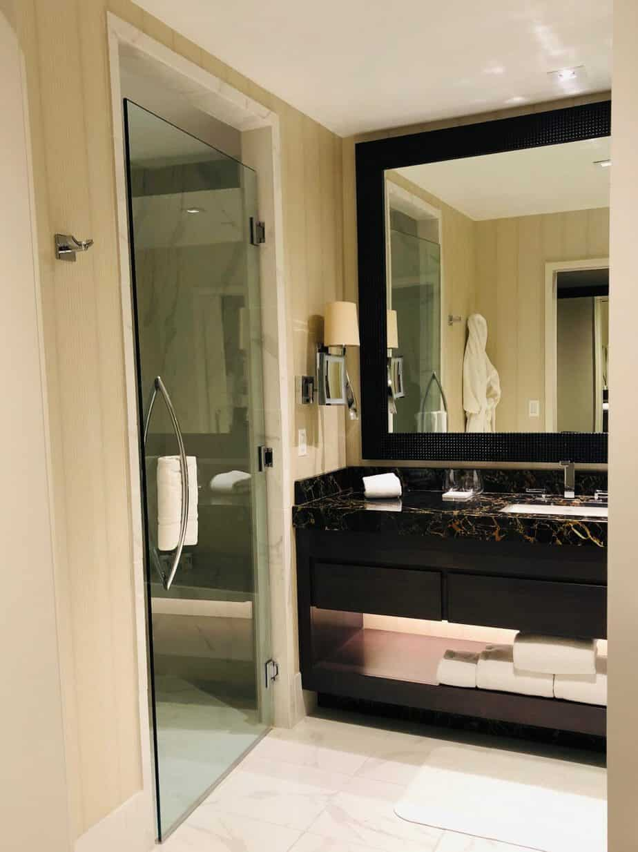 spacious bathroom in deluxe king room at Live! Casino & Hotel