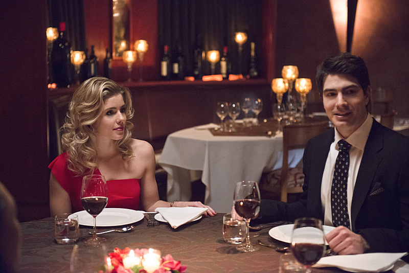 """The Flash -- """"All Star Team Up"""" -- Image FLA118A_0147b -- Pictured (L-R): Emily Bett Rickards as Felicity Smoak and Brandon Routh as Ray Palmer-- Photo: Cate Cameron/The CW -- © 2015 The CW Network, LLC. All rights reserved."""