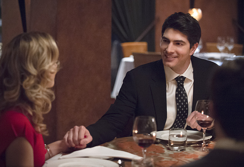 """The Flash -- """"All Star Team Up"""" -- Image FLA118A_0248b -- Pictured (L-R): Emily Bett Rickards as Felicity Smoak and Brandon Routh as Ray Palmer -- Photo: Cate Cameron/The CW -- © 2015 The CW Network, LLC. All rights reserved."""