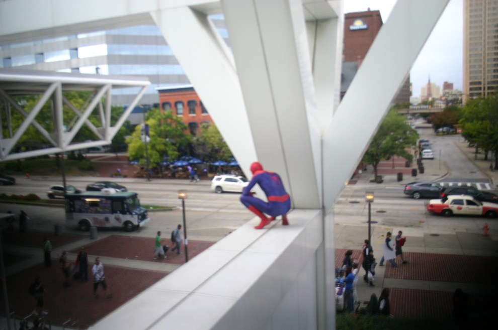 Spiderman looks over the crowd