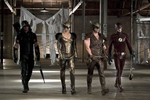 "Arrow -- ""Legends of Yesterday"" -- Image AR408B_0231b.jpg --  Pictured (L-R): Stephen Amell as The Arrow, Ciara Renee as Hawkgirl, Falk Hentschel as Hawkman and Grant Gustin as The Flash -- Photo: Katie Yu/ The CW -- © 2015 The CW Network, LLC. All Rights Reserved"