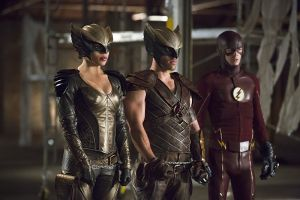 "Arrow -- ""Legends of Yesterday"" -- Image AR408B_0166b.jpg -- Pictured (L-R): Ciara Renee as Hawkgirl, Falk Hentschel as Hawkman and Grant Gustin as The Flash -- Photo: Katie Yu/ The CW -- © 2015 The CW Network, LLC. All Rights Reserved."