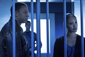 """Arrow -- """"A.W.O.L."""" -- Image AR411b_0174b.jpg -- Pictured (L-R): David Ramsey as John Diggle and Cynthia Addai-Robinson as Amanda Waller -- Photo: Liane Hentscher/ The CW -- © 2016 The CW Network, LLC. All Rights Reserved."""
