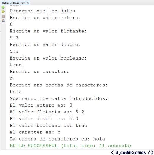 Figura 6. Ejecución del programa de Lectura de datos - dCodinGames.com