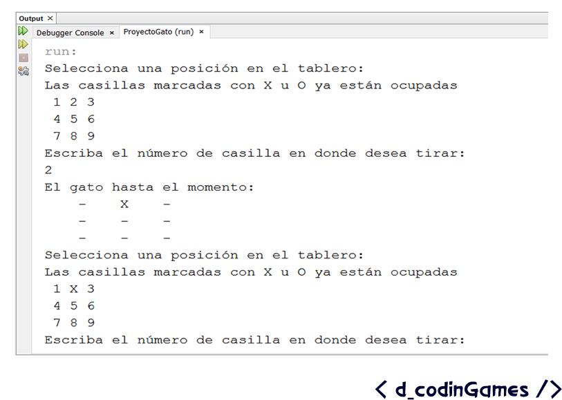 dcodinGames - Pantalla de corrida del método registrarJugada().