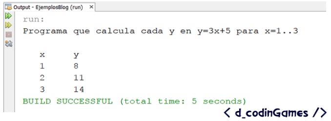 dCodinGames - Salida del programa de ejemplo del ciclo for