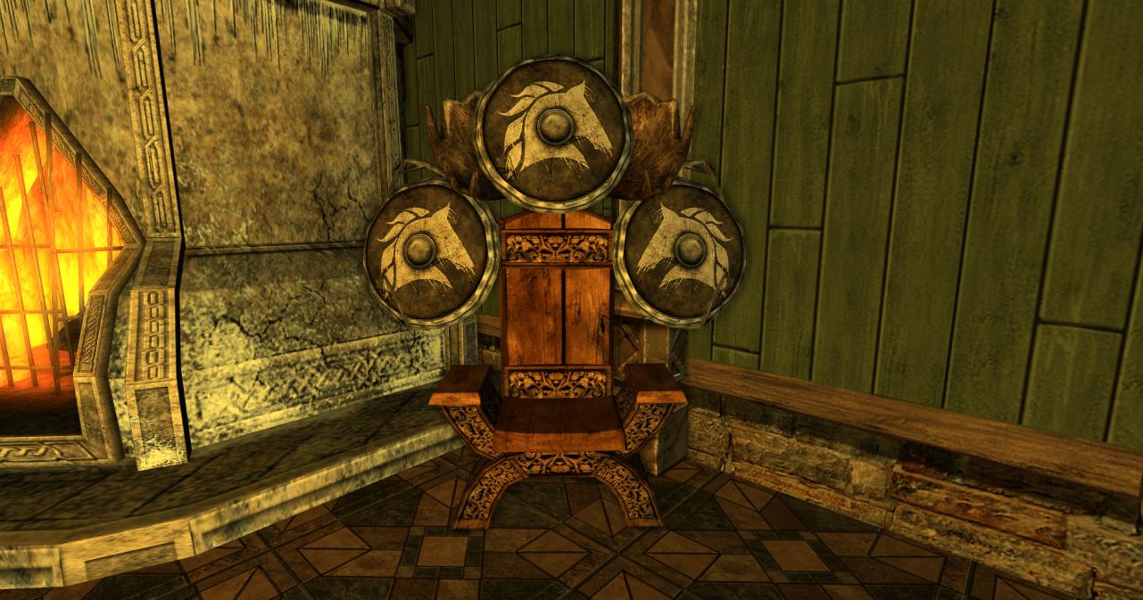 chaise et 3 boucliers des R