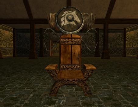 Chaise et bouclier des Rohirrim