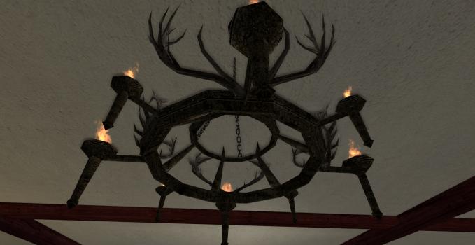 Gros chandelier en ramures des Rohirrim
